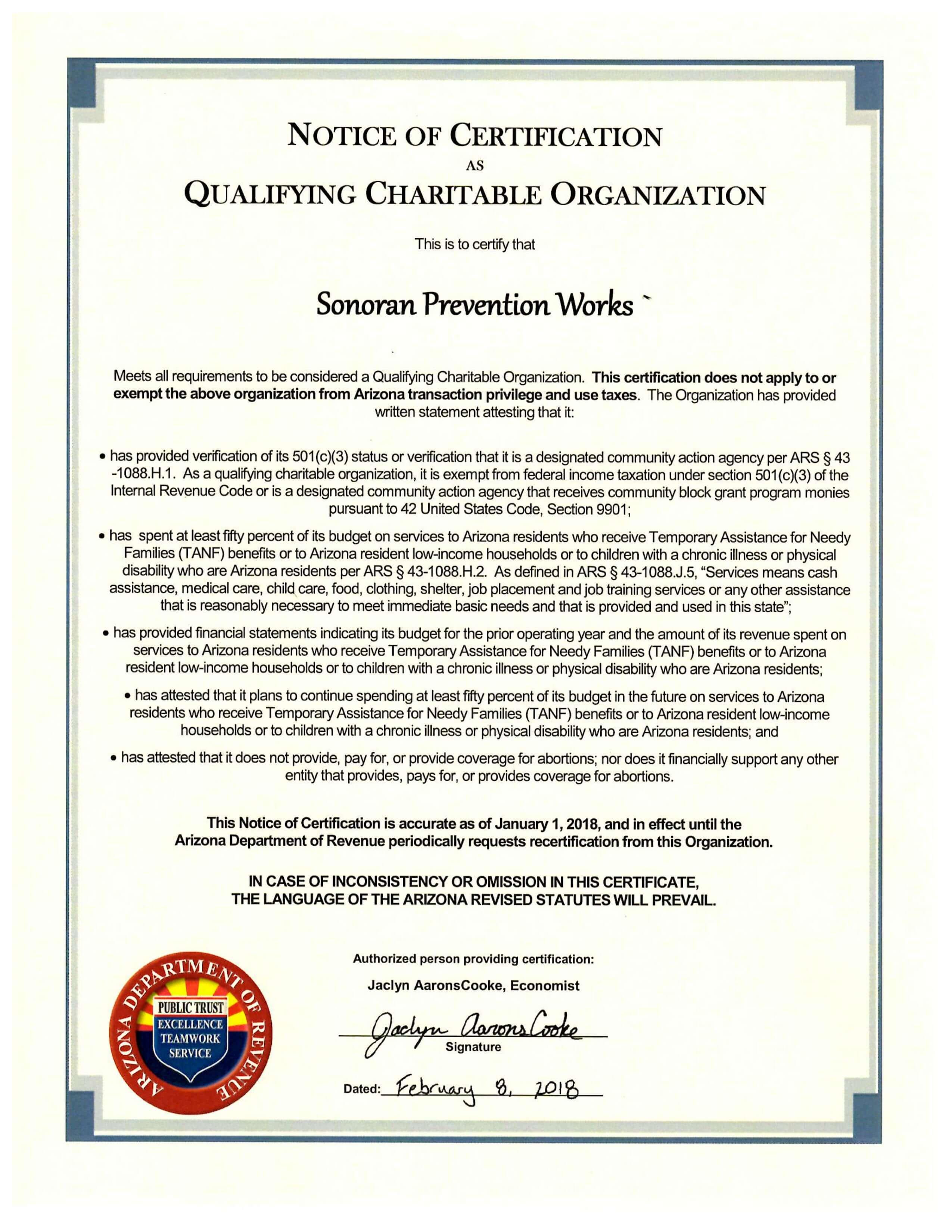 Advocate – Sonoran Prevention Works